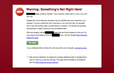 This screenshot shows a warning from Google about a hacked website, blocking the user from visiting the site