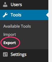 This screenshot shows the Export menu item in the WordPress Dashboard