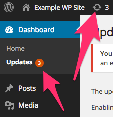 A screenshot of the WordPress Dashboard showing updates are available