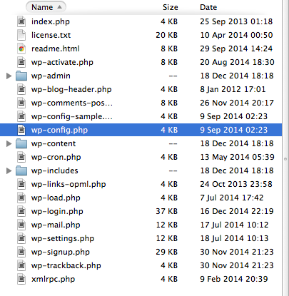 This screenshot shows the contents of a WordPress website folder, with the wp-config.php file highlighted