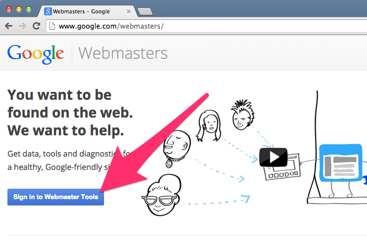 A screenshot of Google's Webmaster Tools homepage