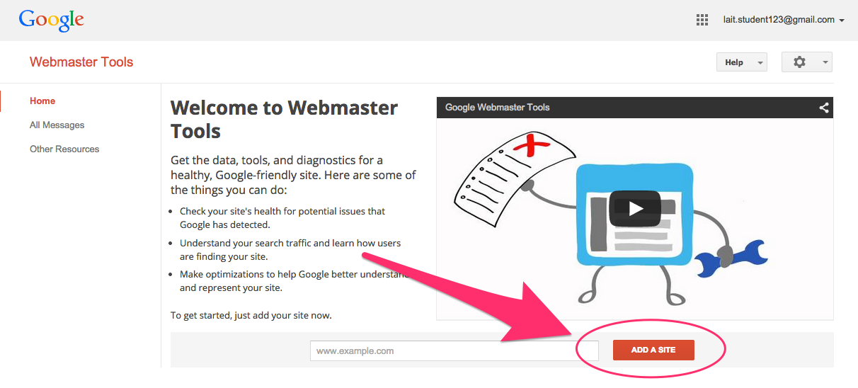 This screenshot shows the button to click to add your website to your Google Webmaster Tools account