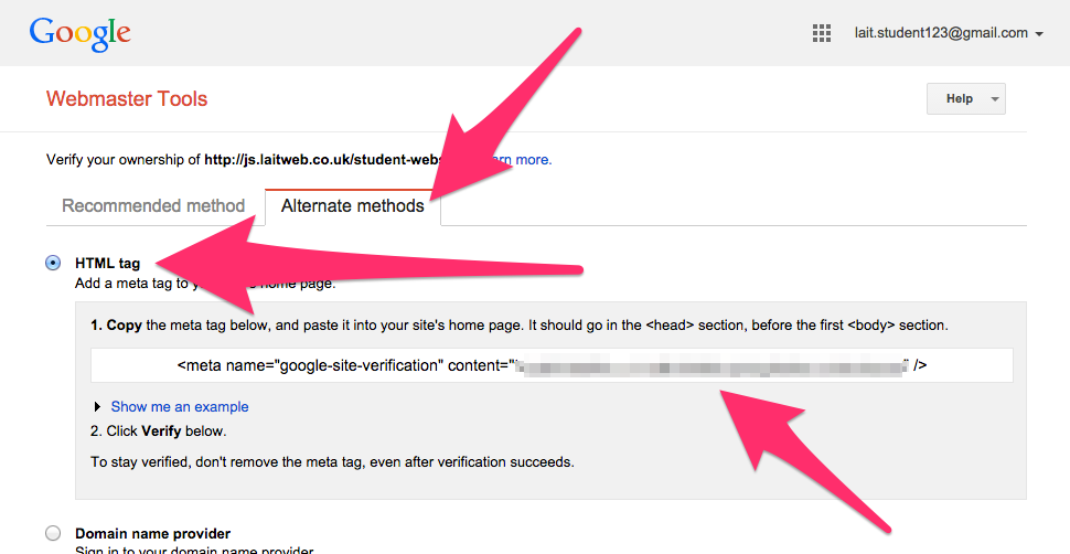 Screenshot of the alternate methods offered for verifying your website with Google Webmaster Tools