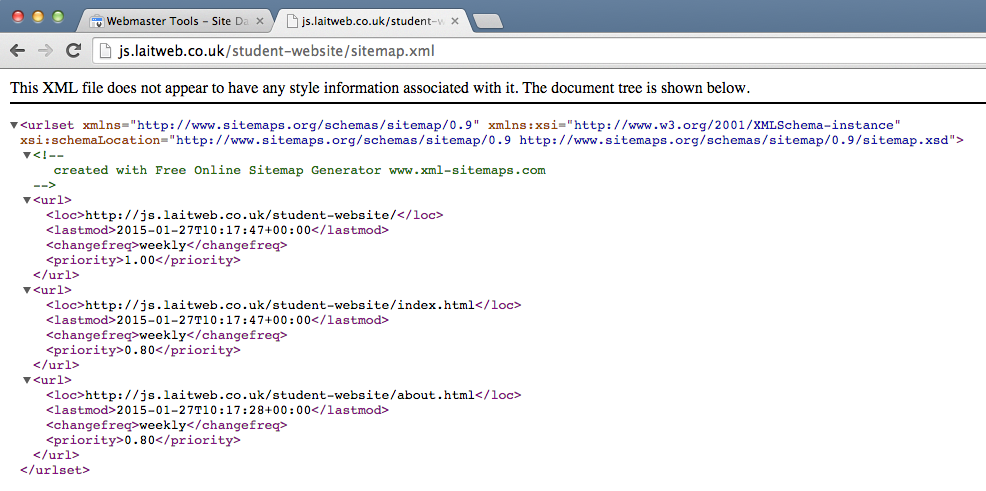 A screenshot of an example XML sitemap