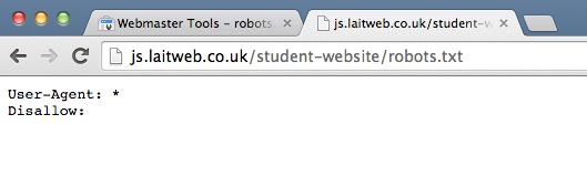 A screenshot of a robots.txt file that allows all search engines to access all pages of the site