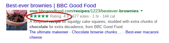 A screenshot of Google search results using Review, Recipe and NutritionInformation Schema markup
