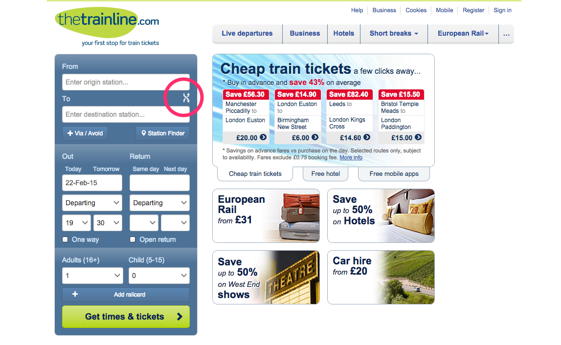 An example of good user experience provided by a train-booking form that allows users to easily switch the direction of the journey