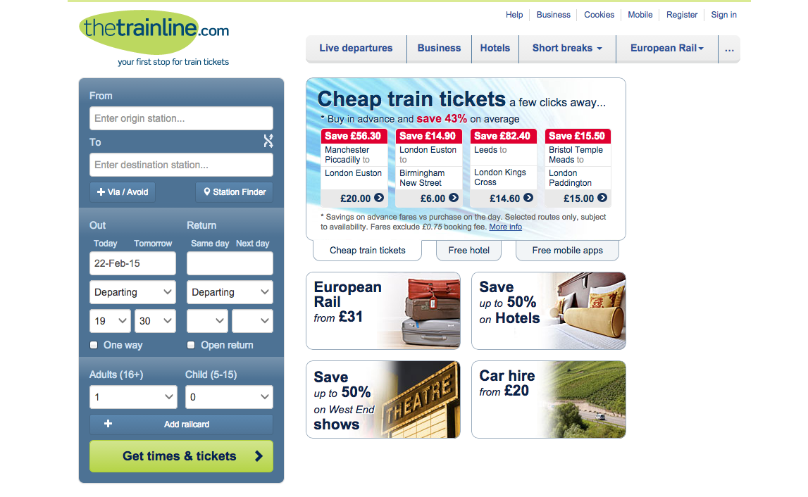 An example of good user experience in a train ticket booking form that auto-fills today's date and time