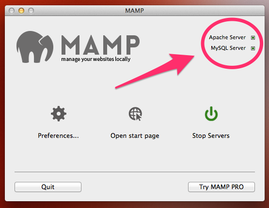 A screenshot of MAMP showing the Apache and MySQL process are running