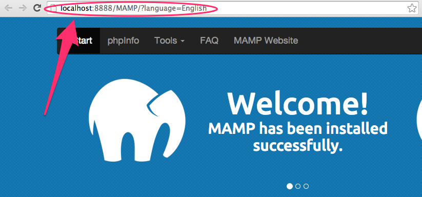 A screenshot of the MAMP start page with the URL in the address bar highlighted
