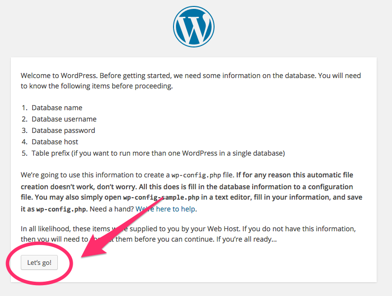 The second step in the final WordPress installation process