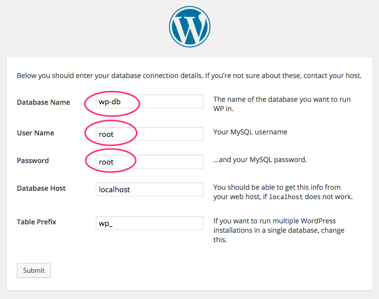 A screenshot of the filled-in WordPress installation form