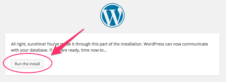 A screenshot of the success message shown when WordPress connects successfully to a database