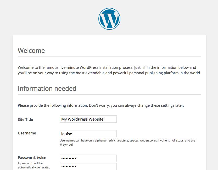 A screenshot of the WordPress '5-minute installation' screen