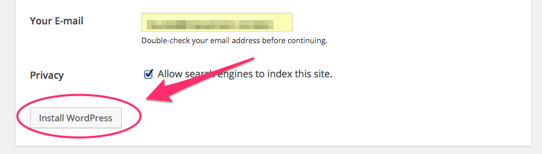 A screenshot of the WordPress '5-minute installation' screen showing the 'Install WordPress' button