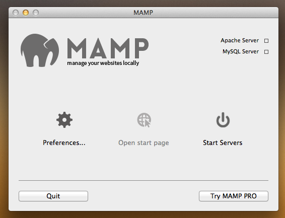 A screenshot of the MAMP control panel