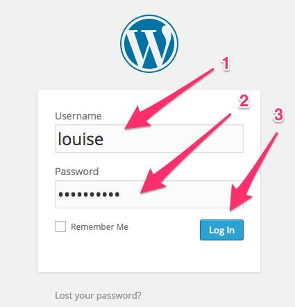 A screenshot of the WordPress Dashboard login form