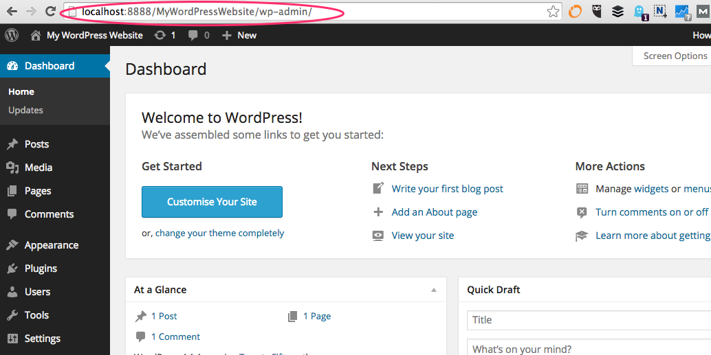 A screenshot of the WordPress Dashboard welcome screen with the localhost URL in the address bar highlighted