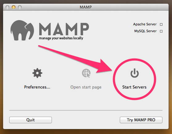 A screenshot of the MAMP control panel with the Start Servers button highlighted