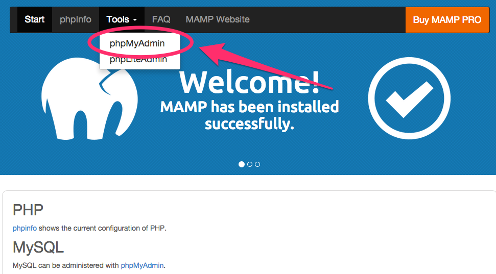 A screenshot of the MAMP welcome screen and the phpMyAdmin link