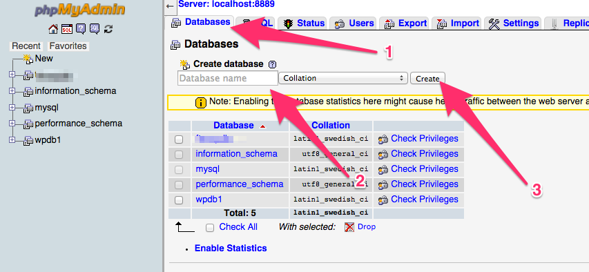 A screenshot of the phpMyAdmin Database's tab where we can create a new database for our local WordPress website