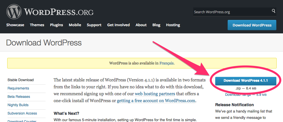 A screenshot of the WordPress.org download page