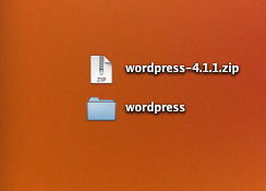 A screenshot of the zipped WordPress download above the extracted WordPress folder