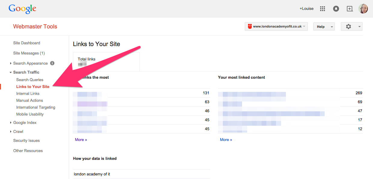A screenshot of Google Webmaster Tools' Links to Your Site view
