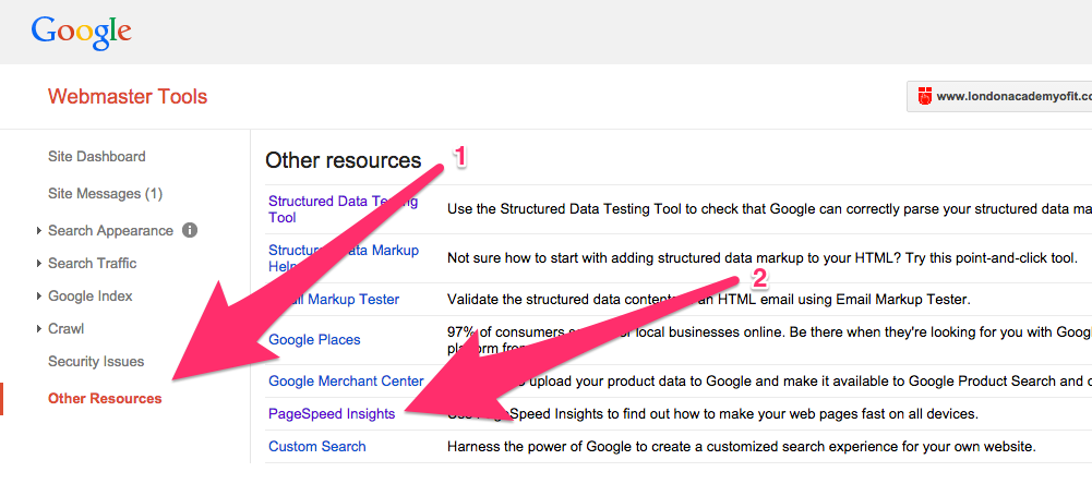 A screenshot of the Other Resources view in Google's Webmaster Tools