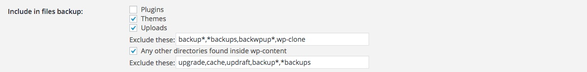A screenshot showing the Updraft Plus 'files to include in backup' settings in WordPress