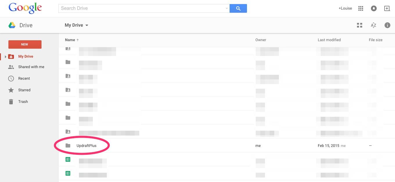 A screenshot showing the Updraft Plus WordPress backups folder in Google Drive