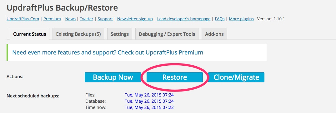 A screenshot showing the Updraft Plus 'Restore' button in WordPress