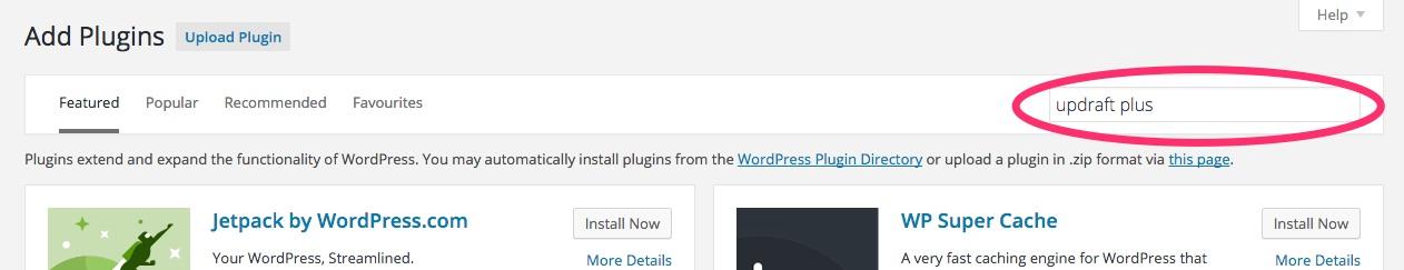 A screenshot showing the new plugin search box in WordPress
