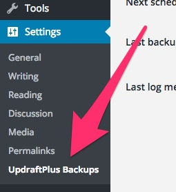 A screenshot showing the new Updraft Plus settings area in WordPress