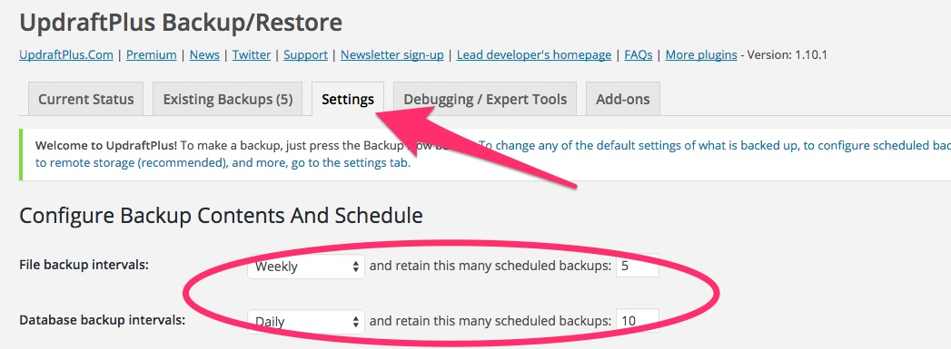 A screenshot showing the backup interval settings in Updraft Plus in WordPress