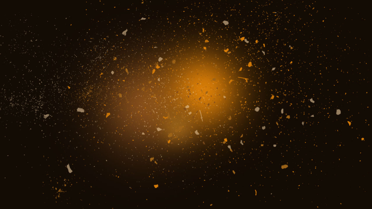 Our example image here shows several gold dust particle brushes used (along with soft gold glow brushes) against a dark brown background