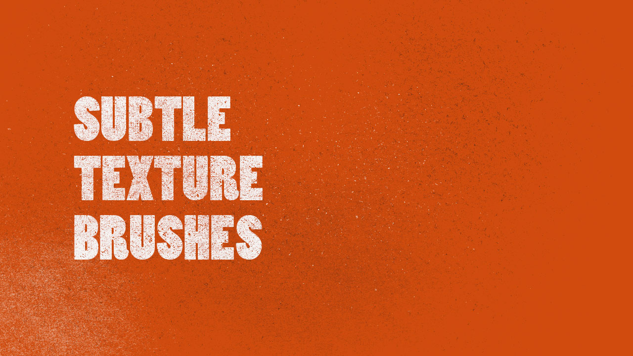 Our example image here shows the texture brush used on bold white text over an orange background