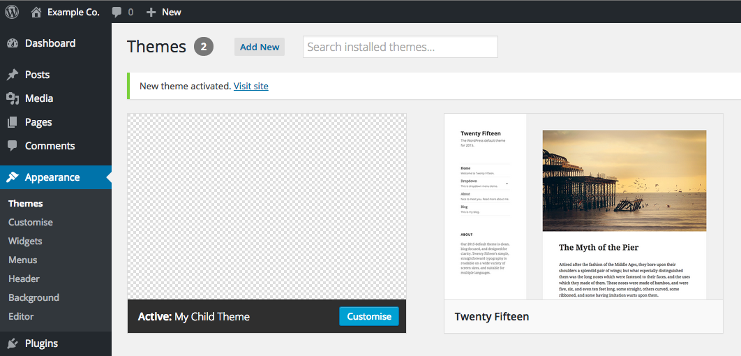 Creating a WordPress child theme - Step 6