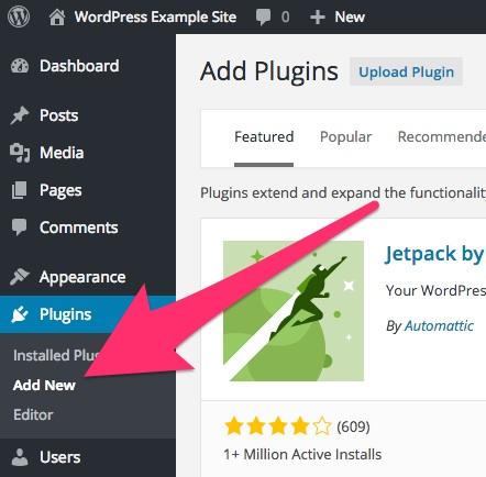 A screenshot showing the 'Add New Plugins' menu item in WordPress