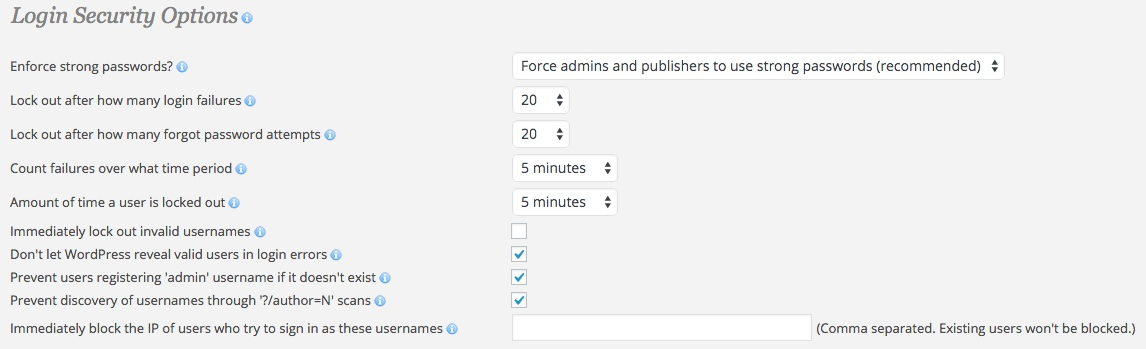 A screenshot showing the Wordfence plugin's 'Advanced Options - Login Security Options' area in WordPress