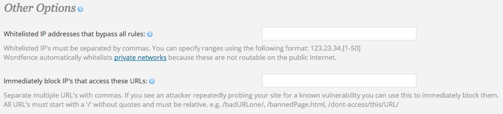 A screenshot showing the Wordfence plugin's 'Advanced Options - Other Options' area in WordPress
