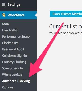 A screenshot showing the Wordfence plugin's 'Advanced Blocking' menu item in WordPress