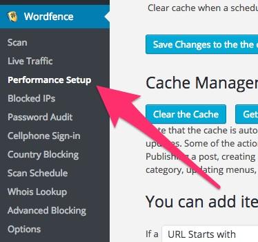 A screenshot showing the Wordfence plugin's 'Performance Setup' menu item in WordPress