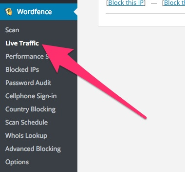 A screenshot showing the Wordfence plugin's 'Live Traffic' menu item in WordPress