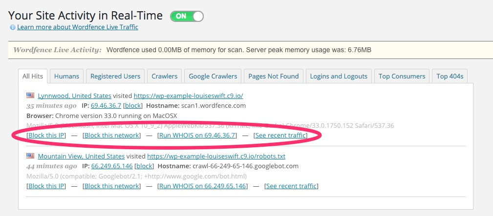 A screenshot showing the Wordfence plugin's 'Live Traffic' feature in WordPress