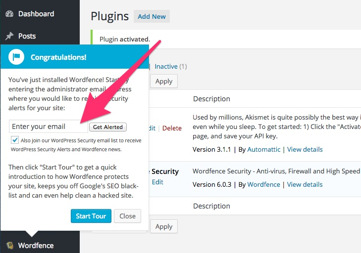 A screenshot showing the Wordfence plugin's pop-up 'Congratulations' message in WordPress