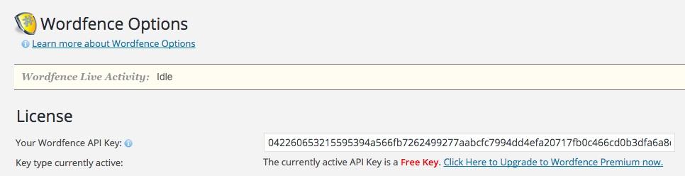 A screenshot showing the Wordfence plugin's option premium upgrade link in WordPress