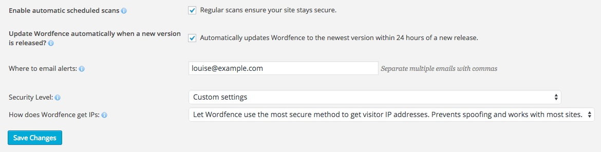 A screenshot showing the Wordfence plugin's 'Basic Options' area in WordPress