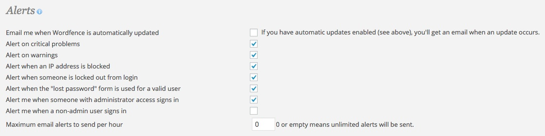 A screenshot showing the Wordfence plugin's 'Advanced Options - Alerts'  area in WordPress