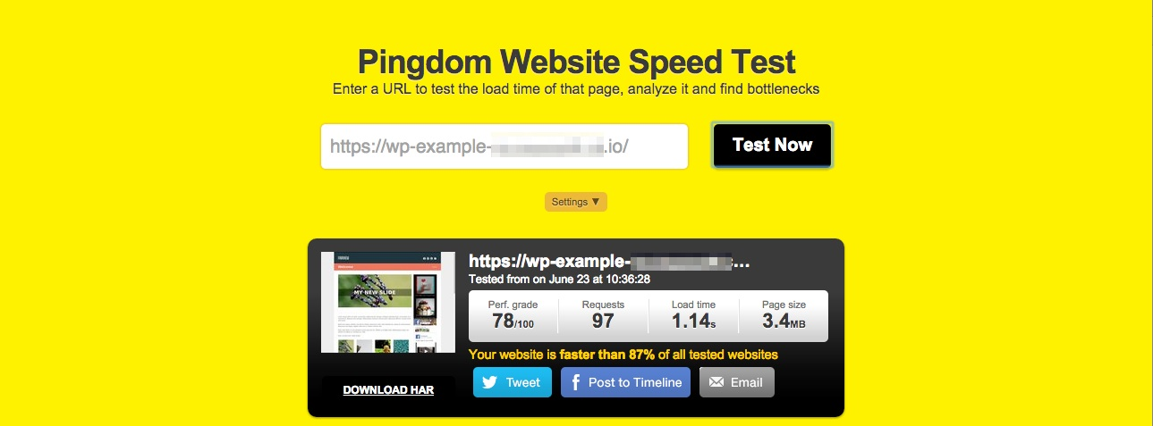 A screenshot of a Pingdom speed test score showing a load time of 573ms